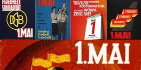 Collage mit Ausschnitten von fünf historischen Plakaten des DGB zum 1. Mai